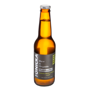 Tonicka Organic Kombucha Lemon Lime & Ginger 12 X 330m Glass - image-7-350x350