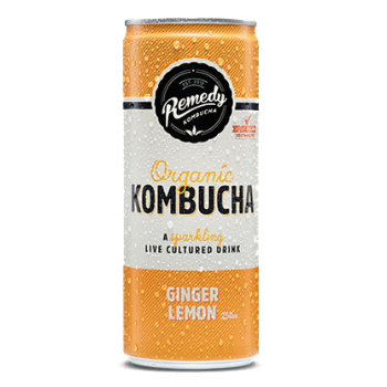 Remedy Kombucha Ginger Lemon 24 X 250ml Cans - Remedy-can-ginger-lemon-350x350