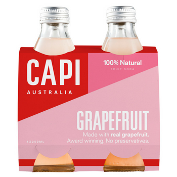Capi Pink Grapefruit Sparkling 6 X 4PK 250ml Glass - Capi-Grapefruit-4-pack-CP75